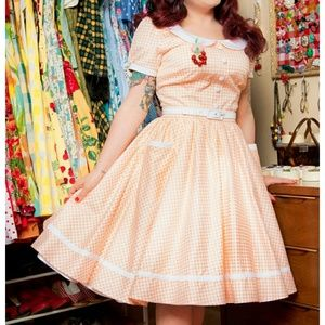 Pinup Girl Clothing Dee Dee Dress Peach Gingham 2X